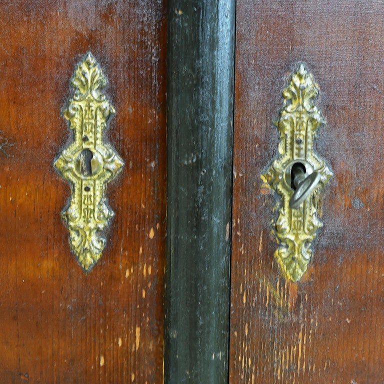 Austrian Armoire with Original Tooled Red/Maroon Painted Finish, circa 1800 For Sale 7