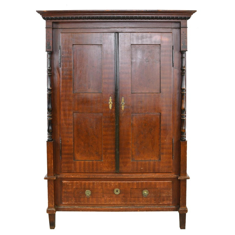 Austrian Armoire with Original Tooled Red/Maroon Painted Finish, circa 1800 For Sale 11