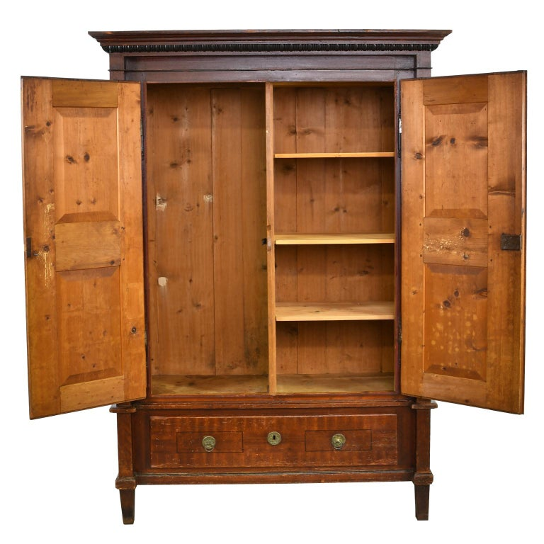 A lovely and charming Austrian armoire with the original tooled and grained painted finish in a maroon or reddish brown color, with painted foliage and ebonizing that includes the turned columns and moldings. Doors open to an interior comprising of