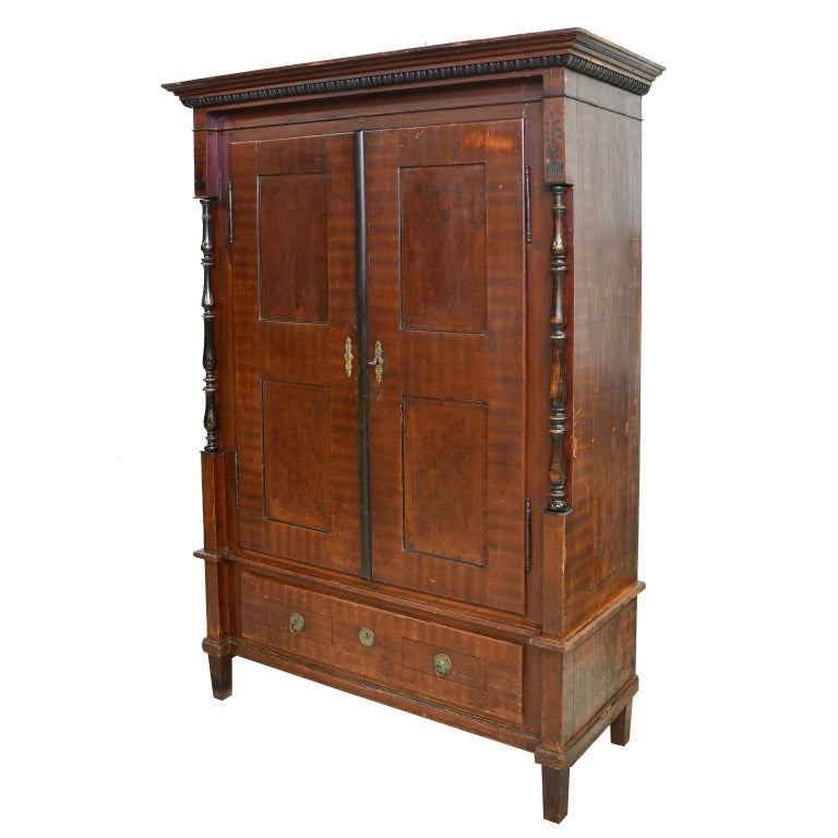 Austrian Armoire with Original Tooled Red/Maroon Painted Finish, circa 1800 For Sale 1