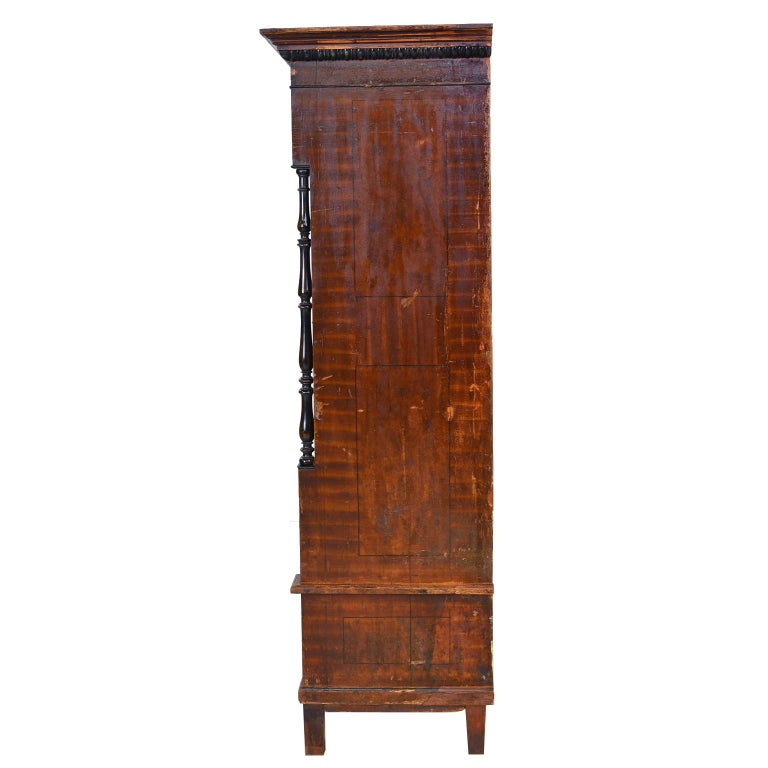 Austrian Armoire with Original Tooled Red/Maroon Painted Finish, circa 1800 For Sale 2