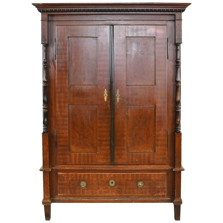 Austrian Armoire with Original Tooled Red/Maroon Painted Finish, circa 1800 For Sale