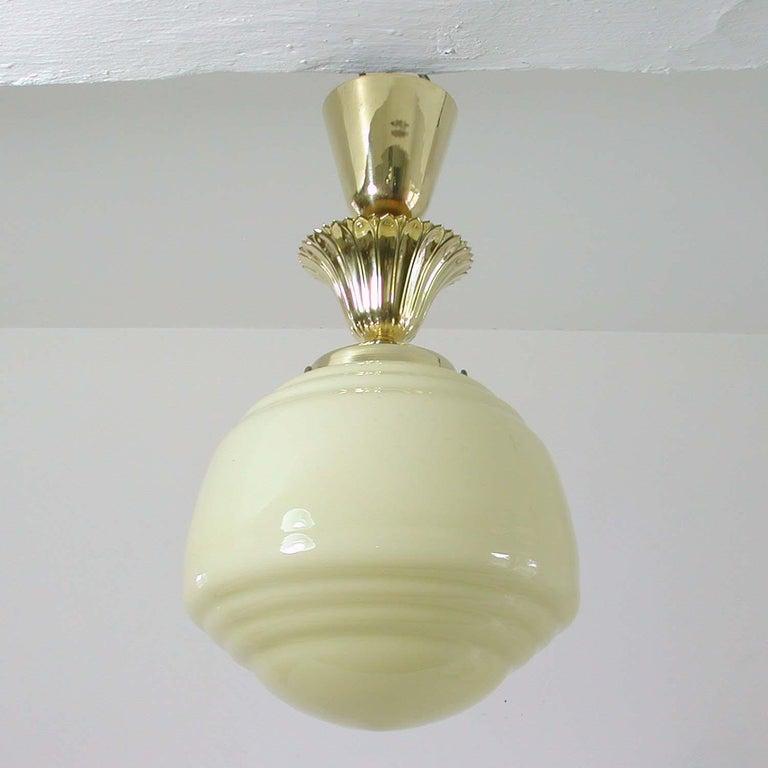 Austrian Art Deco Bauhaus Opaline and Brass Flush Mount, 1940s For Sale 7