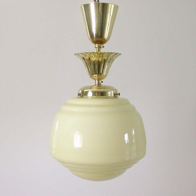 Austrian Art Deco Bauhaus Opaline and Brass Flush Mount, 1940s For Sale 1