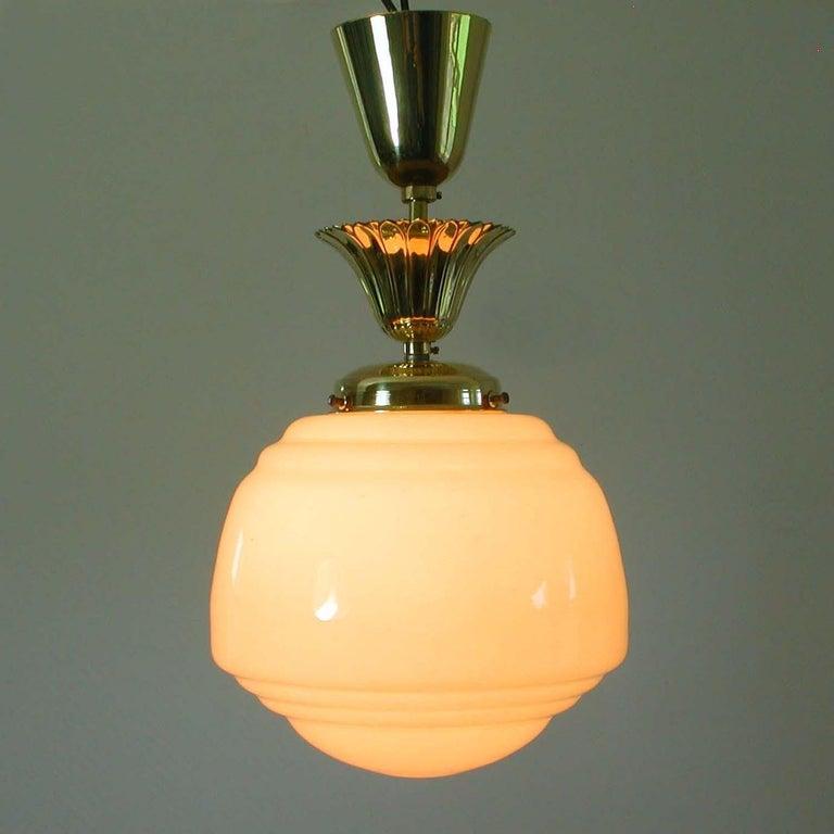 Austrian Art Deco Bauhaus Opaline and Brass Flush Mount, 1940s For Sale 3