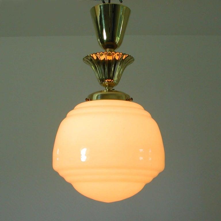 Austrian Art Deco Bauhaus Opaline and Brass Flush Mount, 1940s For Sale 4