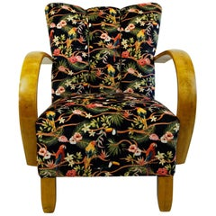 Austrian Art Deco Beechwood Armchair with Black Floral Velvet