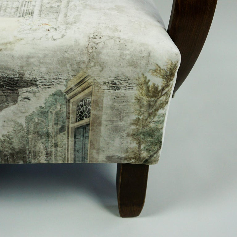 Austrian Art Deco Beechwood Armchair with Renewed White and Light Grey Velvet For Sale 6