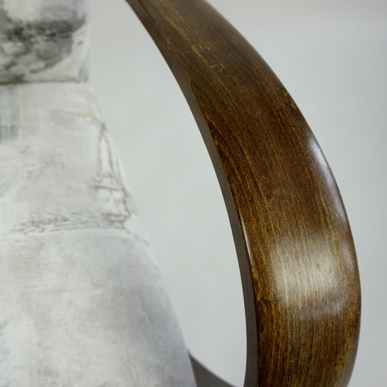 Austrian Art Deco Beechwood Armchair with Renewed White and Light Grey Velvet For Sale 7