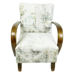Austrian Art Deco Beechwood Armchair with Renewed White and Light Grey Velvet