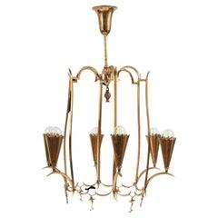 Austrian Art Deco Brass Chandelier in the Style of Dagobert Peche