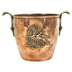 Austrian Art Deco Champagne or Wine Bucket in Copper & Brass with Gazelle Decor