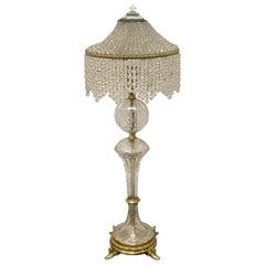 Austrian Art Deco Crystal & Bronze Boudoir Lamp, with Sphinx Feet