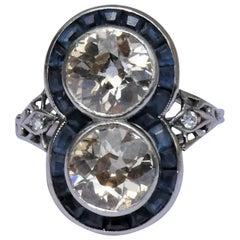 Austrian Art Deco Diamond Sapphire Platinum Target Ring