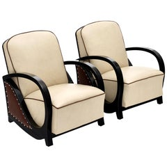 Austrian Art Deco Leather Armchairs