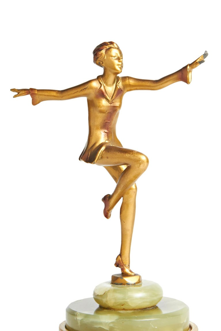 French Austrian Art Deco Lorenzl Gilt Bronze Dancing Figure on Green Onyx Base For Sale