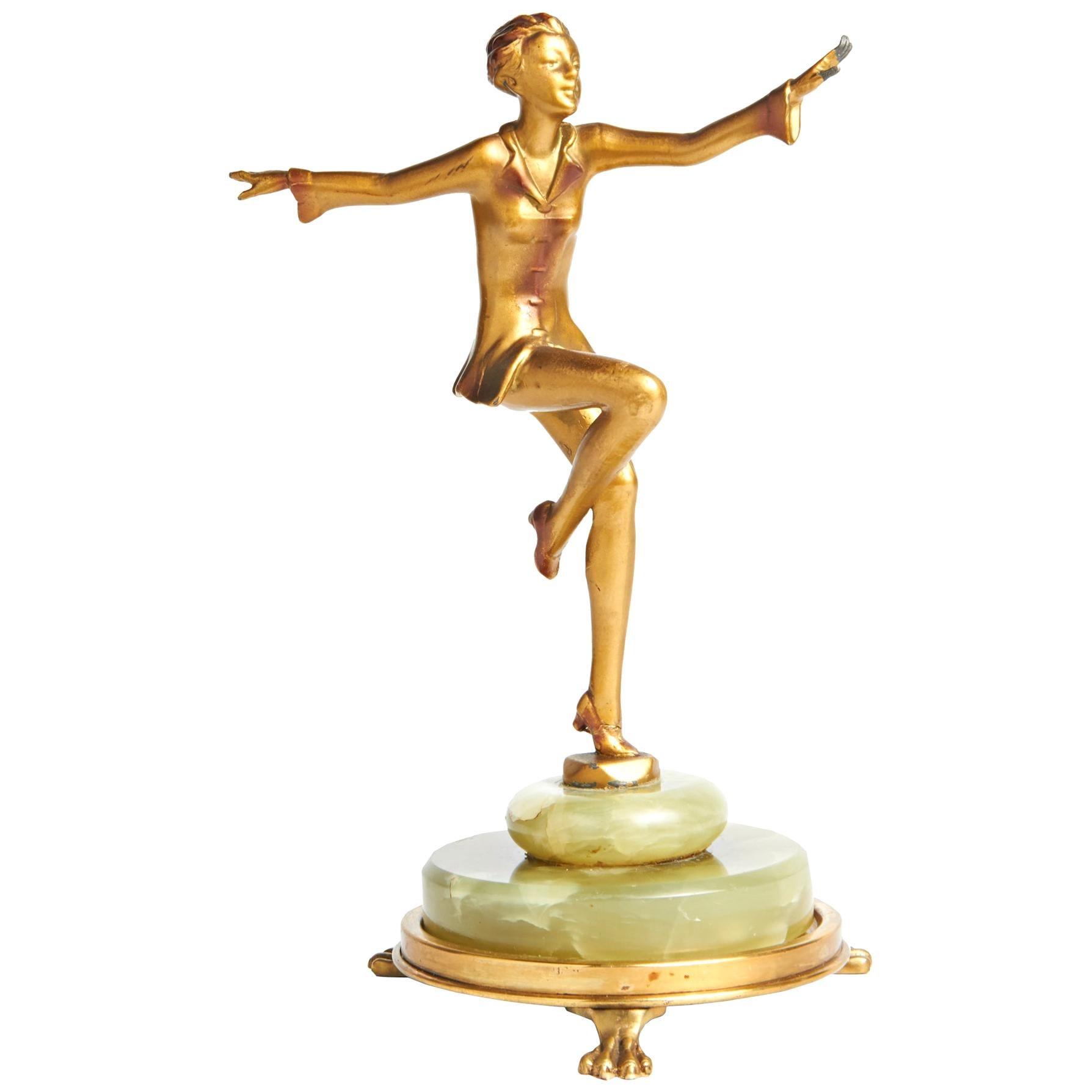 Austrian Art Deco Lorenzl Gilt Bronze Dancing Figure on Green Onyx Base