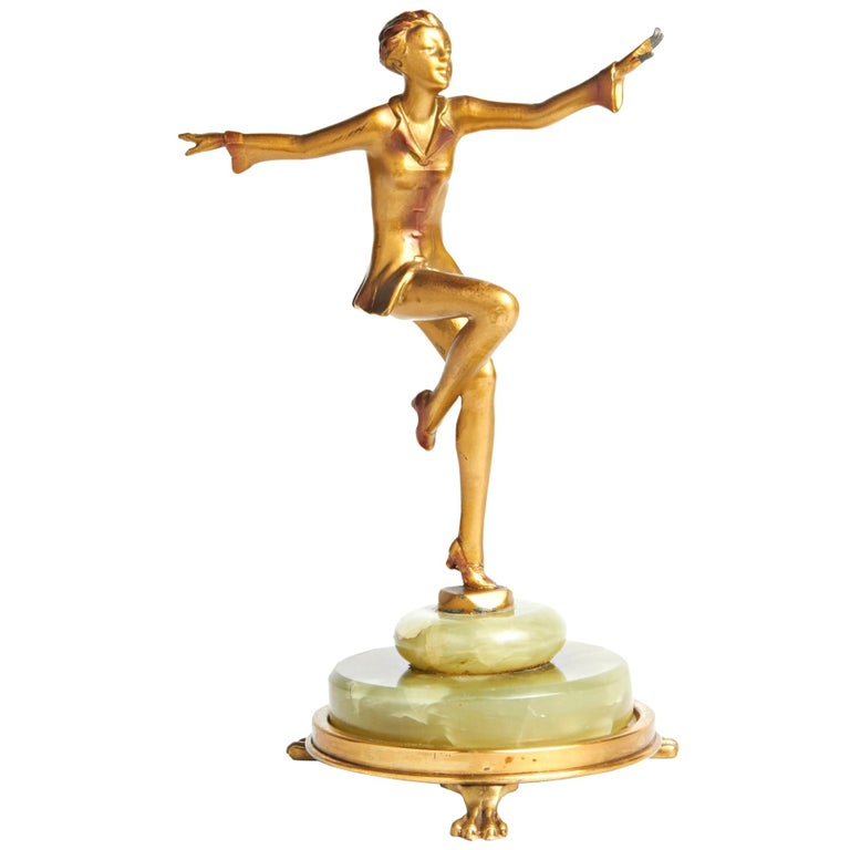 Austrian Art Deco Lorenzl Gilt Bronze Dancing Figure on Green Onyx Base For Sale