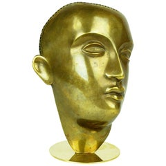 Austrian Art Deco Male Brass Bust by Franz Hagenauer Vienna