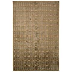 Austrian Art Deco Style Rug Modern Green Wool and Silk Custom by Rug & Kilim