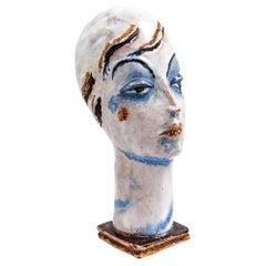 Austrian Art Female Ceramic Head Gudrun Baudisch Wiener Werkstatte circa 1928