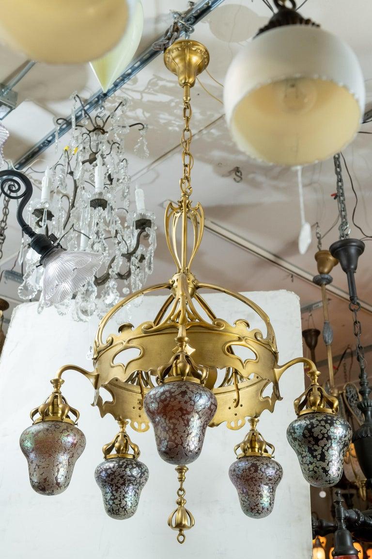 Gilt Austrian Art Nouveau 5-Light Chandelier with Hand Blown Shades For Sale