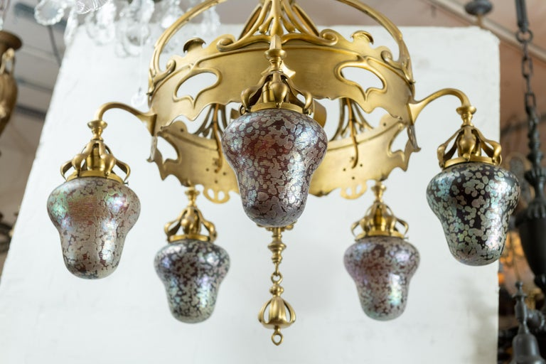 Austrian Art Nouveau 5-Light Chandelier with Hand Blown Shades In Excellent Condition For Sale In San Francisco, CA