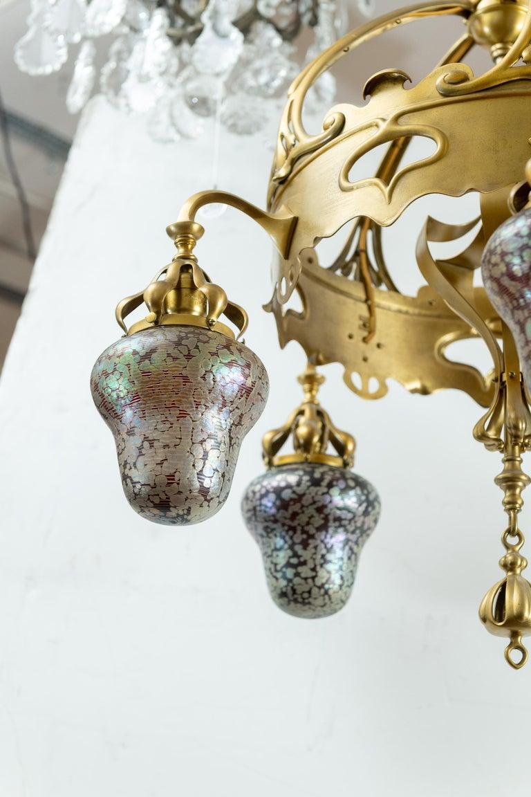 20th Century Austrian Art Nouveau 5-Light Chandelier with Hand Blown Shades For Sale