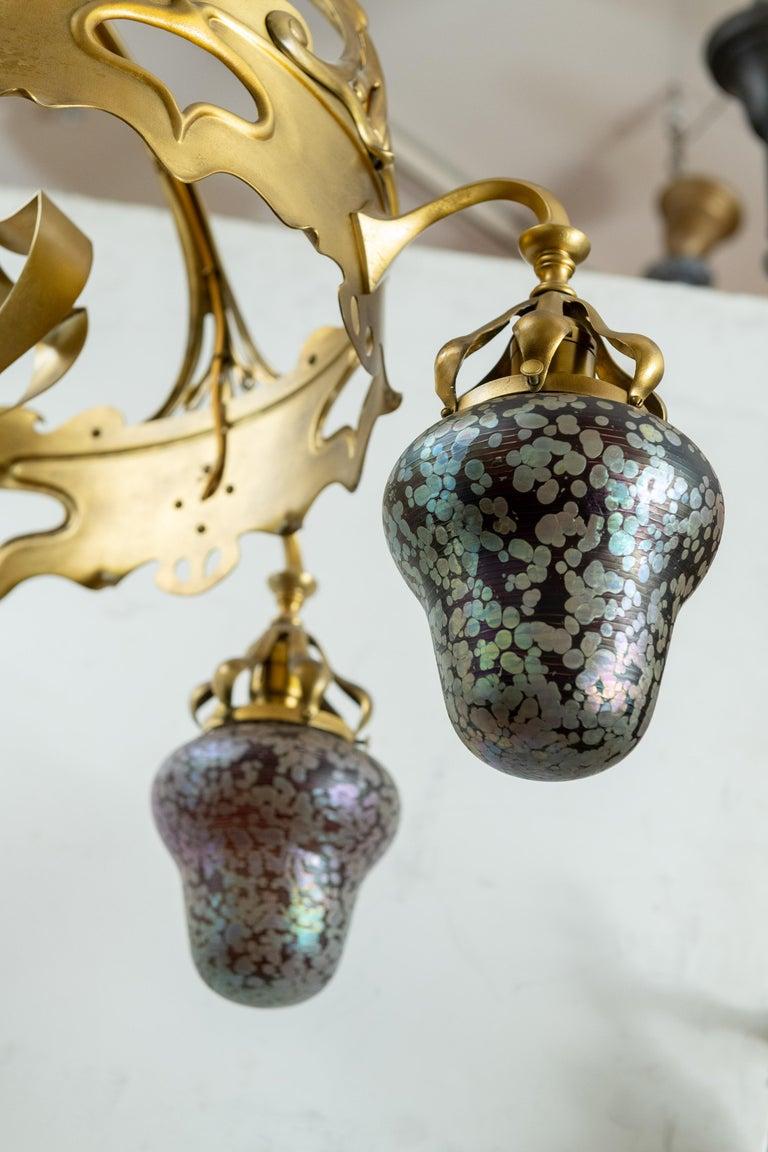 Bronze Austrian Art Nouveau 5-Light Chandelier with Hand Blown Shades For Sale