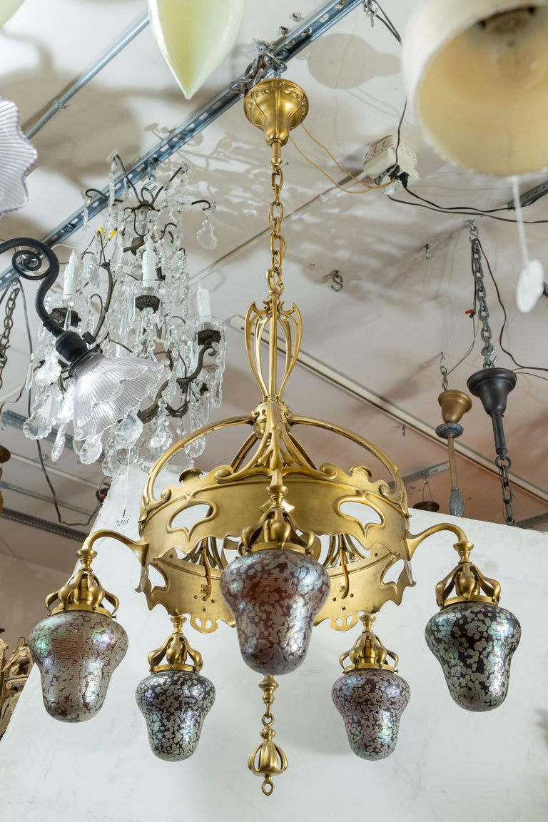 Austrian Art Nouveau 5-Light Chandelier with Hand Blown Shades For Sale 1