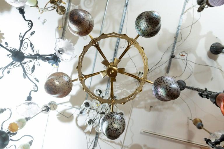 Austrian Art Nouveau 5-Light Chandelier with Hand Blown Shades For Sale 2