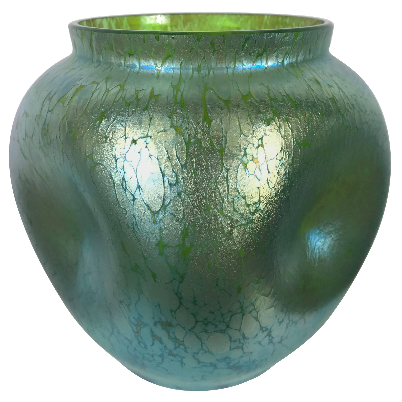 Austrian Art Nouveau Art Glass Bulbis Vase by Loetz