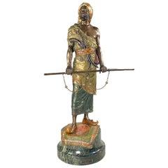 Austrian Art Nouveau Bronze Orientalist Sculpture of an Arab Warrior