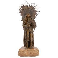 "Austrian Art Nouveau Bronze Sculpture ""Warrior Chief with Rifle"" by, Carl Kauba"