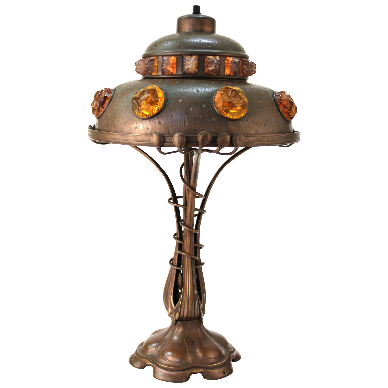 Austrian Art Nouveau Cast Bronze & Brass Table Lamp with Chunk Glass Jewels