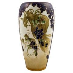 Austrian Art Nouveau Ceramic Portrait Vase Amphora White Blue circa 1897