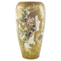 Austrian Art Nouveau Ceramic Portrait Vase Amphora White Ochre Gold circa 1898