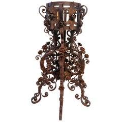 Austrian Art Nouveau Forged Iron Flower Stand