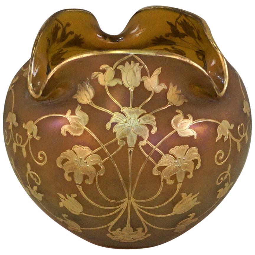 Austrian Art Nouveau Gold Paint Art Glass Vase