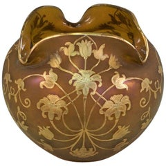 Austrian Art Nouveau Gold Paint Art Glass Vase
