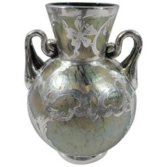 Austrian Art Nouveau Iridescent Yellow Glass Silver Overlay Vase