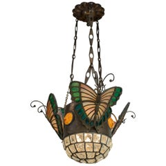 Austrian Art Nouveau Pendant with Leaded Glass Butterflies and Chunk Glass