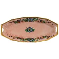 Austrian Art Nouveau Porcelain Pink and Gold Dish