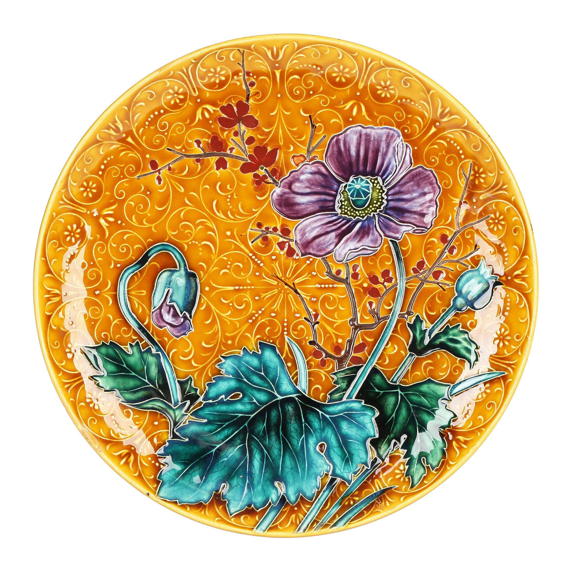 Austrian Art Nouveau Pottery Wall Plaque with Tubelined Floral Designs