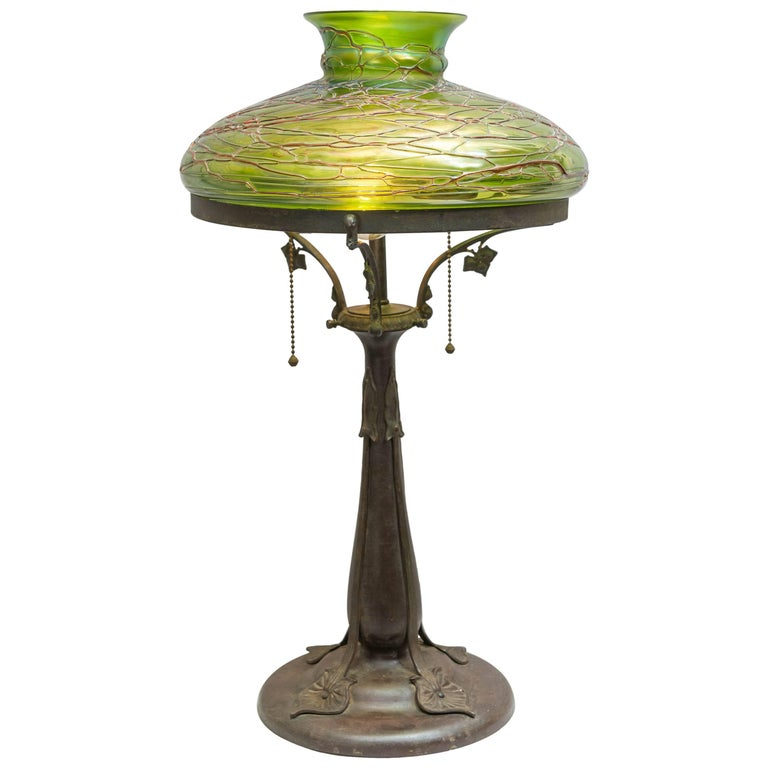 Austrian Art Nouveau Table Lamp With Handblown Shade For Sale At 1stdibs