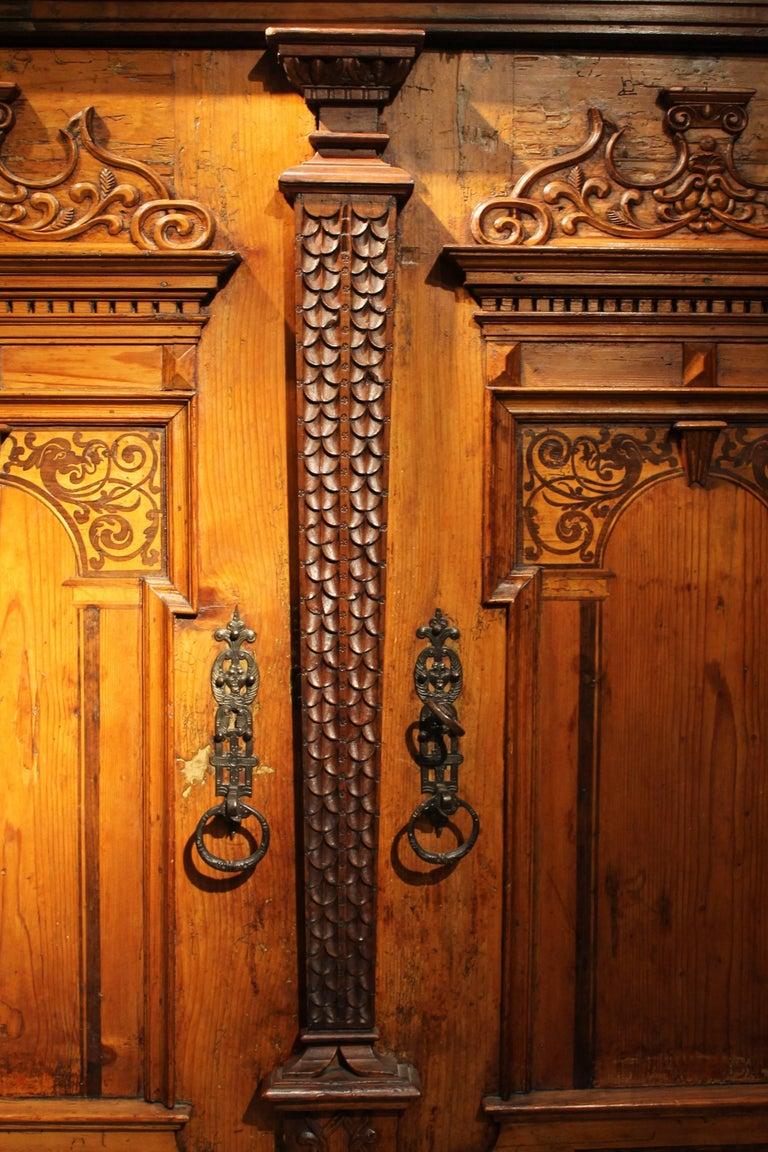 Austrian 17th Century Baroque Two Doors Walnut Wood Birch