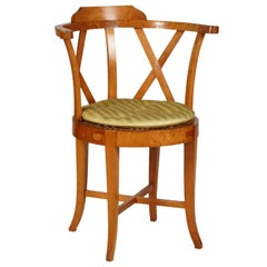 Austrian Barrel Back Fruitwood Biedermeier Armchair with Caned Seat, circa 1840