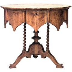 Austrian Biedermeier Burl Ash and Inlaid Round Table