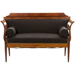 Austrian Biedermeier Carved Fruitwood and Black Upholstered Antique Settee Sofa