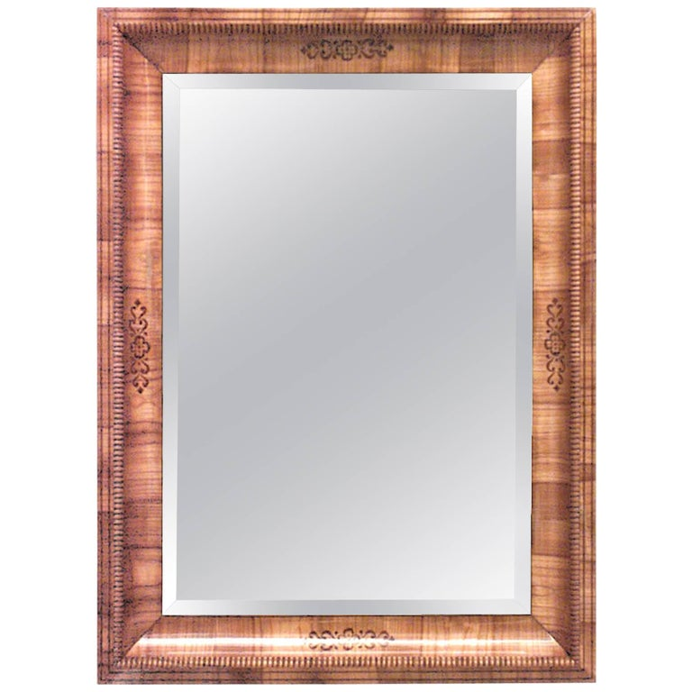 Austrian Biedermeier Cherrywood Wall Mirror For Sale
